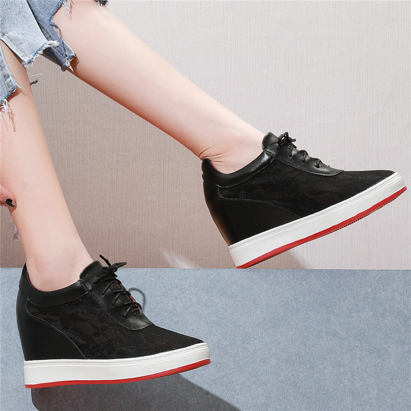 NAYIDUYUN Punk Tennis Sneakers Women Breathable Cow Leather Wedges Platform Evening Party Pumps High Heel Summer Casual Shoes in Women 39 s Pumps from Shoes