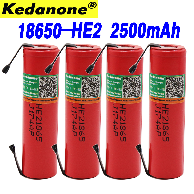 <font><b>18650</b></font> 3.6 V 2500 mAh HE2 IMR18650 Rechargeable Powerful battery, Max 20A 35A battery discharge e-cigarette + DIY nickel image