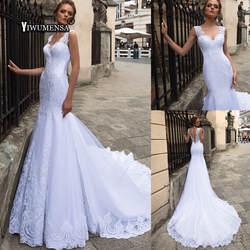 Robe De Mariage Русалка длинное платье свадебное 2019 Vestidos novia Спагетти ремень V образным вырезом Свадебное праздничные платья на заказ сделано