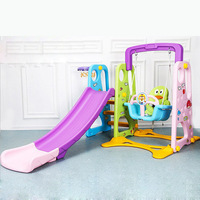 15% LK82 Eco friendly Plastic Slippery Slide Multifunction Swing Basketball Stand Combined Slider Toy For 1 8yrs Old Children