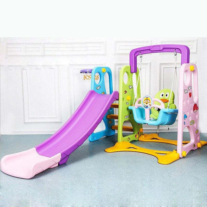 LK82 Экологичные Пластик скользкой слайд многофункциональный качели Баскетбол стоят в сочетании ползунок игрушка для 1 8yrs лет