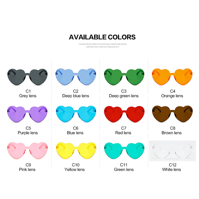 LongKeeper Love Heart Shaped Festival 90s Sunglasses Vintage Luxury - Aksesori pakaian - Foto 6