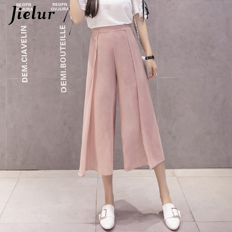 Jielur Korean Fashion Simple High Waist   Pants   Women 2019 S-XL White Black   Pants   Femme Leisure   Wide     Leg     Pants   Chiffon Dropshiping