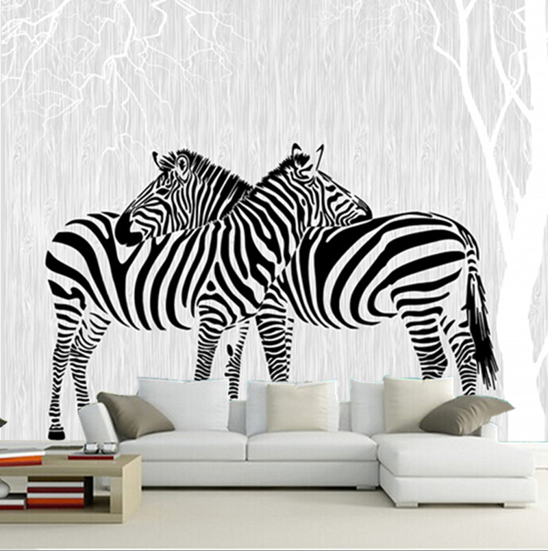 Custom 3D murals,modern minimalist mural,two zebras in the abstract woods papel de parede,living room TV wall bedroom wallpaper