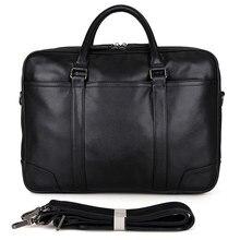 JMD 100% Genuine Vintage Leather Men's Black Laptop Shoulder  Briefcases bags Free Shipping 7348A