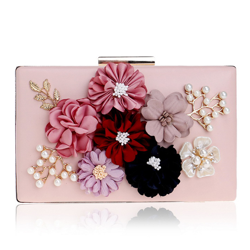 Women Pink Flower Crystal Pearl Evening Pu Leather Clutches Luxury Handbag Purse Wedding Banquet Box Clutch Makeup Bag