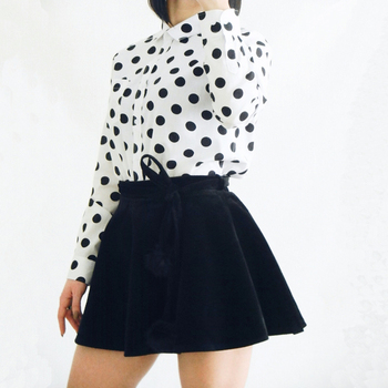 Dioufond Red Polka Dot Women Shirts Formal Work Ladies Blouses Cotton Long Sleeve Vintage Shirt Plus Size Tops Fashion Clothes
