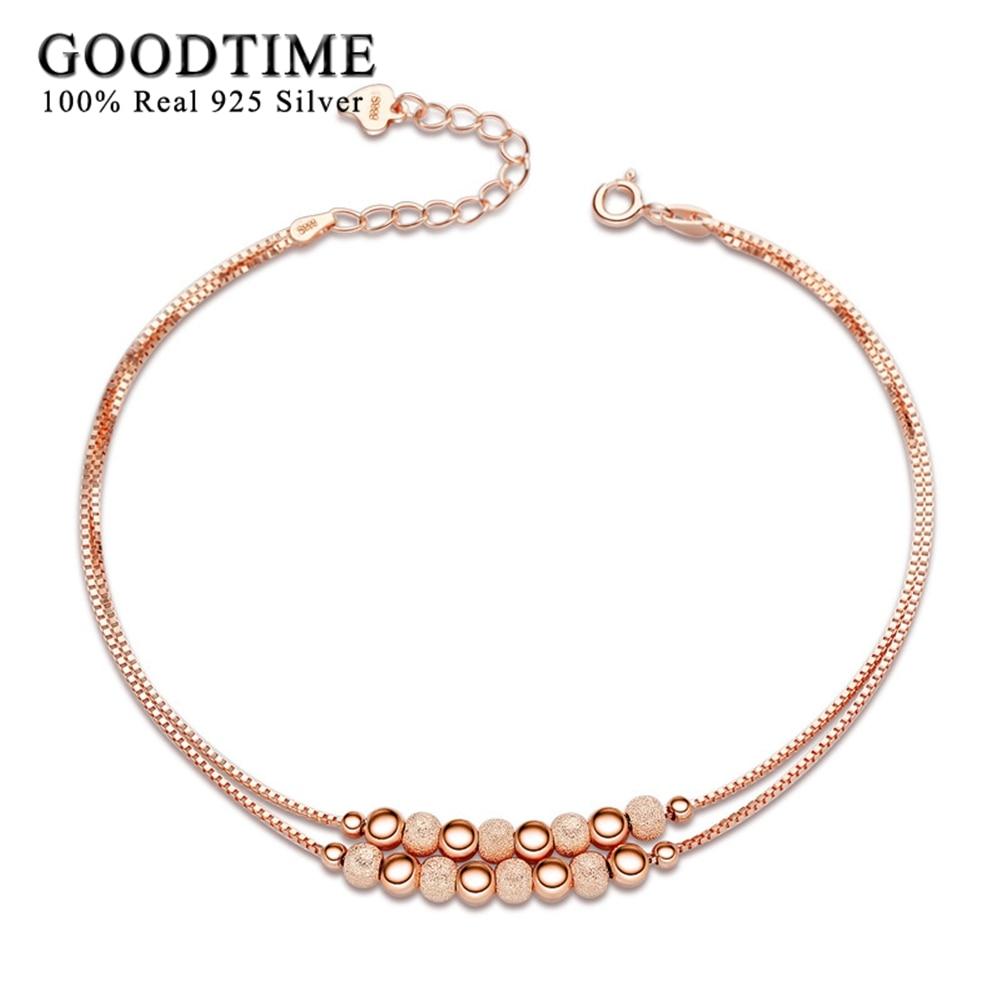 GoodTime Pure 925 mincovní stříbro náramky pro ženy jemné šperky kulaté korálky krabičky řetízek náramky a náramky milenci dárky