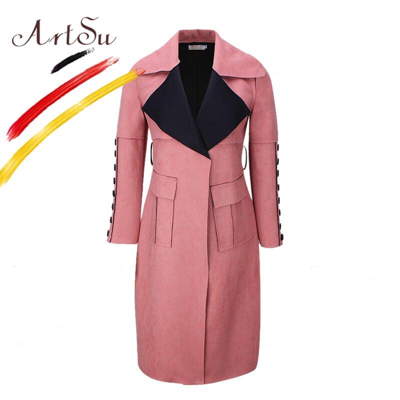 ArtSu Korea Elegant Women Long Coat 2017 Winter Faux Leather Suede   Trench   Coat Slim Pockets Button Women's Windbreaker ASCO20113
