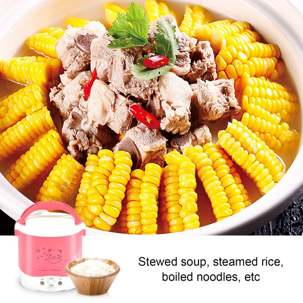 Cute Cat Elect 1L Mini Cooker Electric Rice Cooker Auto Rice Cooker With Cute Cat Pattern For Rice Soup Porridge Steamed Egg for kenwood pressure cooker 6l multivarka electric cooker 220v 1000w smokehouse teflon coating electric rice cooker crockpots