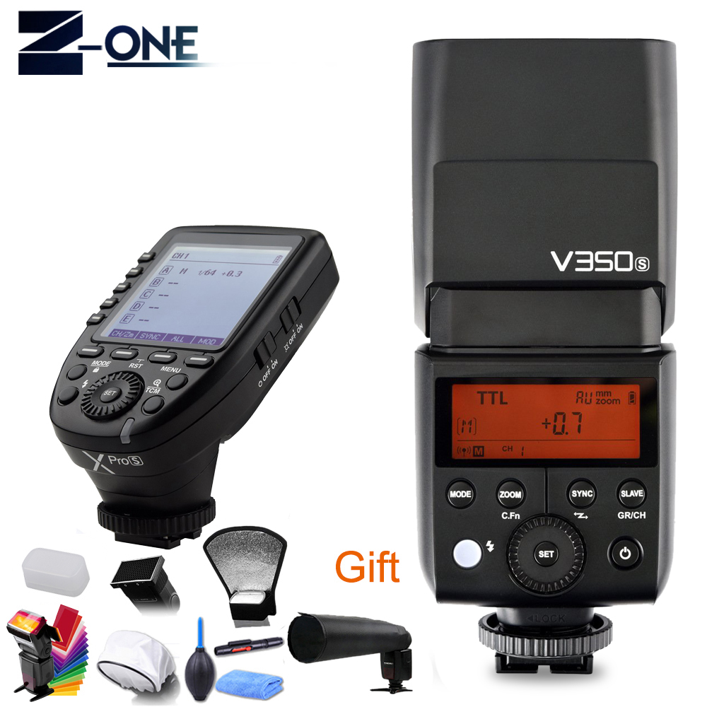 Godox V350S TTL HSS 1/8000s Camera Flash Speedlite Built-in Li-ion Battery + Xpro-S Transmitter for SONY A7R A7RII A99 A6500 A58 2x godox v350s ttl hss 1 8000s camera flash with built in 2000mah li ion battery x1t s transmitter for sony a7riii a7s a77 ii