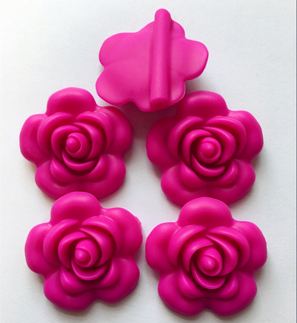 US $10.5 |Newset 40mm hot pink color Chunky Flower shaped Food grade  Silicone beads for necklace making-in Beads from Jewelry & Accessories on  ...