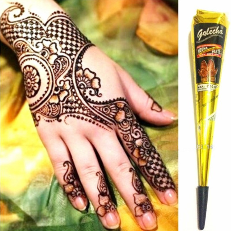 Online Shop Golecha 5pcs 25g Dark Red Mehndi Henna Cones Indian