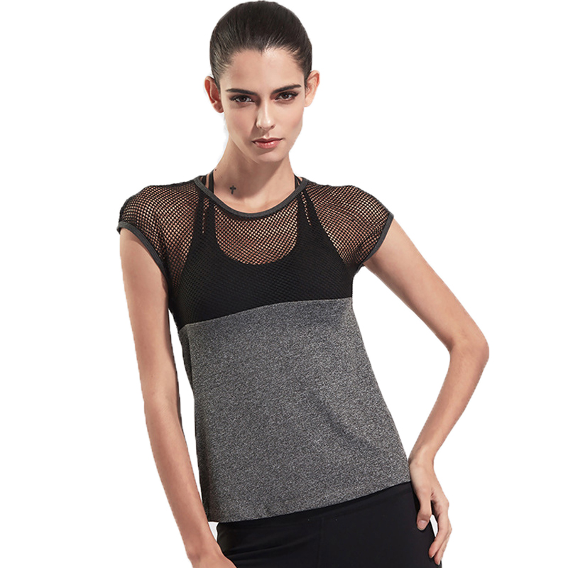 Women T Shirt New Mesh Patchwork Quick Drying Tops Sportes Fitness Gymming Shorting Sleeve T-shirt For Women Top Tees