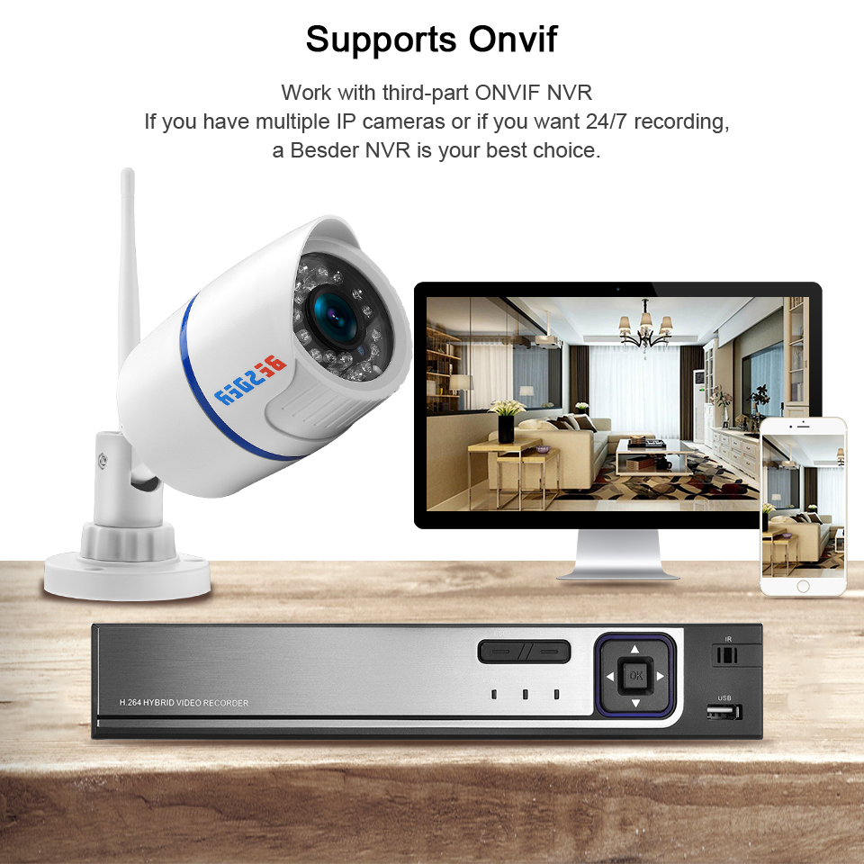 Image 5 - BESDER Audio 720P 1080P Wifi Ip CCTV Outdoor Camera Surveillance White Waterptoof Onvif Wireless Camera With SD Card Slot CamHi-in Surveillance Cameras from Security & Protection