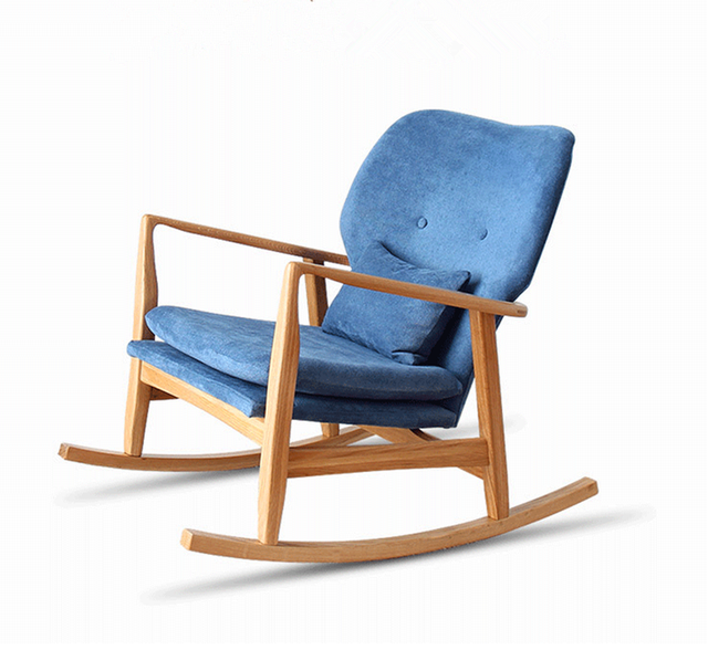 Modern Solid Wood Oak Chair Rocking Chair Cushions Padded Living Room Furniture Adult Luxury Accent Relax Arm Chair Rocking
