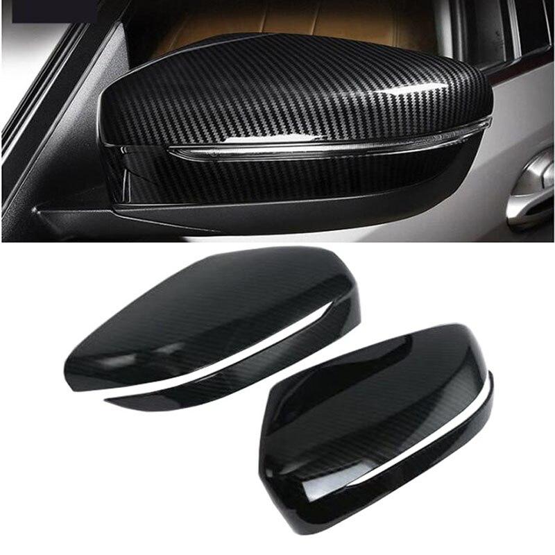 2PCS Carbon Fiber Side Rearview Mirror Cover Trim For BMW 5 Series G30 2017 2018