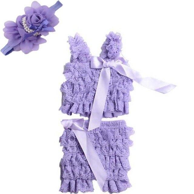 Горячие продажи летние детская одежда Установить петти кружева ползунки + цветок оголовье девушка моды младенческой малыша ползунки 2 шт.