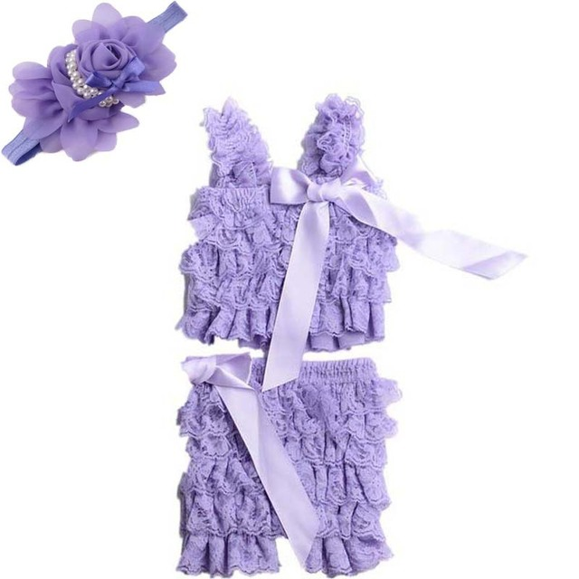 Hot sale summer baby clothes Set petti lace romper + flower headband girl fashion infant toddler romper 2 pcs
