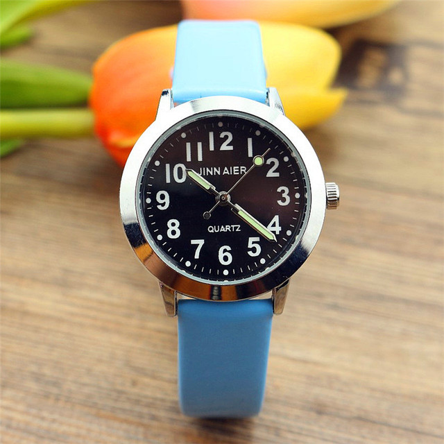 Nazeyt little boys and girls kids simple design quartz watch luminous hand leath