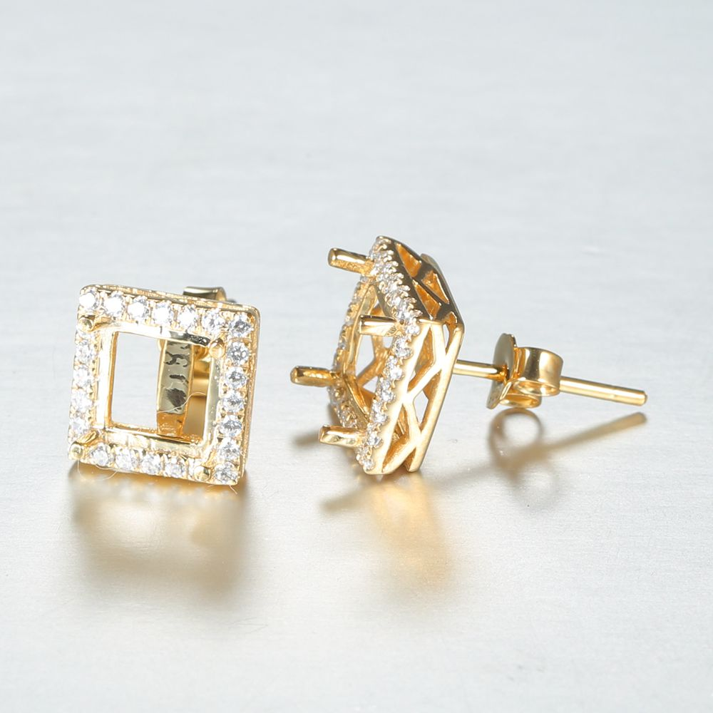 Solid 10k Yellow Gold 6X6MM Princess Cut Semi Mount Earrings CZ Bridal Jewelry Women Engagement Wedding Earring Setting sterling silver 925 plated white gold cubic zirconia 6x6mm princess cut earrings women engagement wedding fine earrings setting