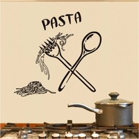 Italian Pasta Food Meal Kitchen Wall Art Stickers Spoon Folk Cafe Wall Decal Home Diy Decoration