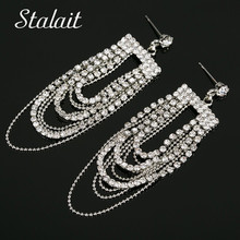 Statement Hollow Water Drop Flower Tassel Earrings Trendy Leaf Full Rhinestone Silver Color Earrings For Women Wedding Gift