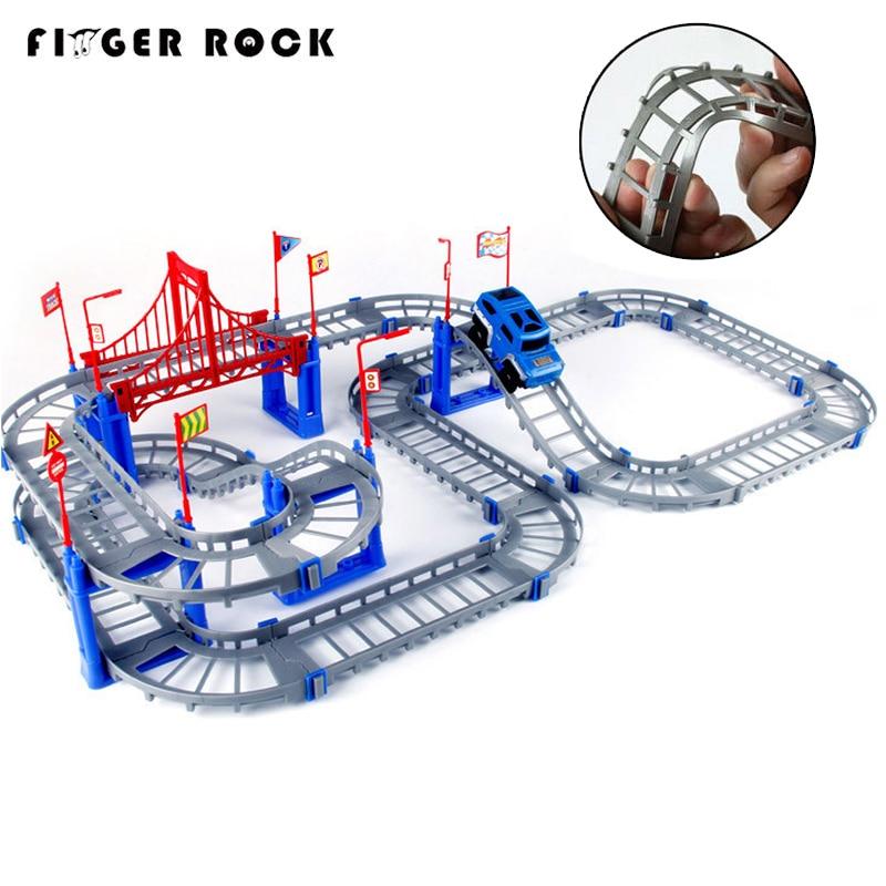 Magical 5.5cm Railway Road Track Car Toys Diy Electric Flash Light Car Train Model Educational Assembly Rail Tracks Toy For Kid