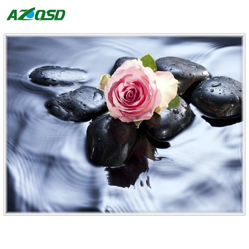 AZQSD Diamond Embroidery Rose Handicraft Wall Art Full Round Drill Diamond Painting Sale Floral On the Water Home Decor DIY