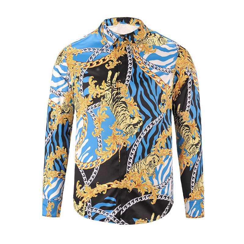 2017 new men designer shirts fashion 3d gold chain mens for Latest shirts for mens 2017