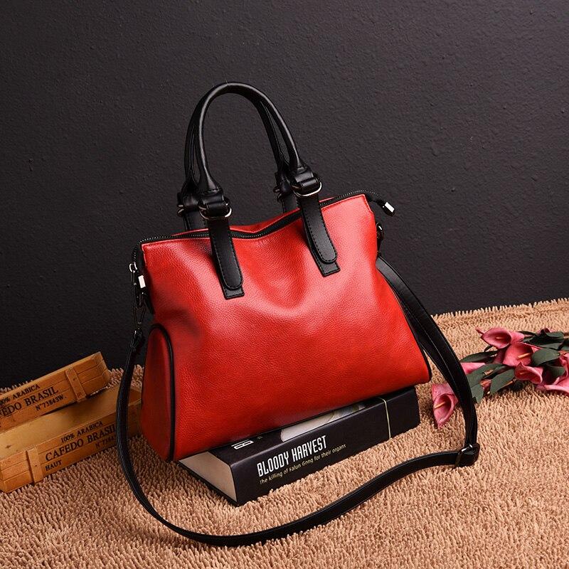 Yonder Women Genuine Leather Handbag Vintage Shoulder Bag Female Designer Top-handle Hand Bags Ladies Messenger Bags Black/Red