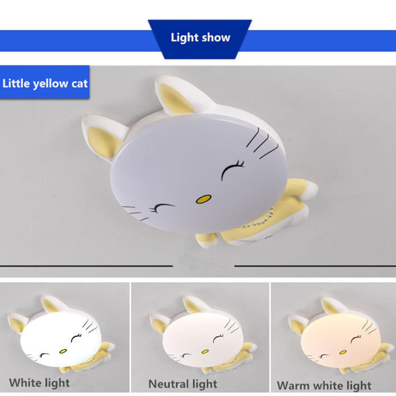 HAWBERRY LED белый свет Нейтральный Теплый Белый свет детская спальня комната котенок мультфильм простой потолочный светильник - 5