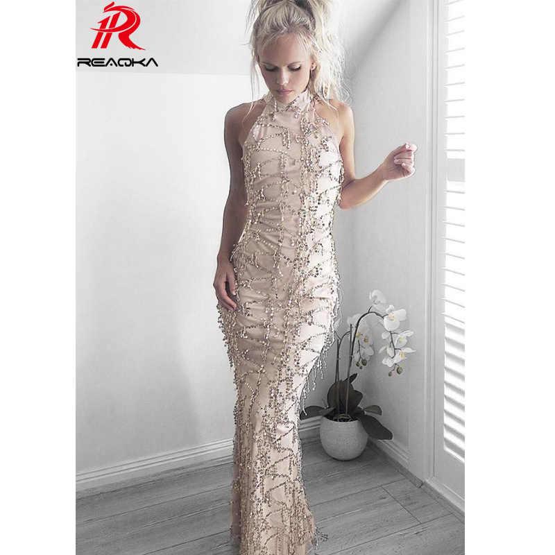 Detail Feedback Questions about Reaqka Elegant sequin tassel maxi mermaid dress  Women evening party summer dress 2018 sexy mesh long dress sequined  vestidos ... 7c0a5136500f