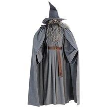 Волшебник Гэндальфа Властелин колец Косплей Хэллоуин костюм на заказ со шляпой парик борода