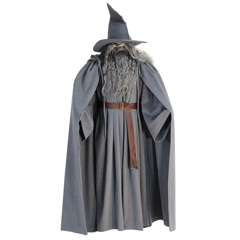 Seigneur des anneaux Gandalf assistant Cosplay Halloween Costume personnalisé avec chapeau perruque barbe