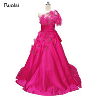 2017 New Arrival Charming Sleeveless One Shoulder Rose Red Satin Ball Gown Prom Dresses For Prom
