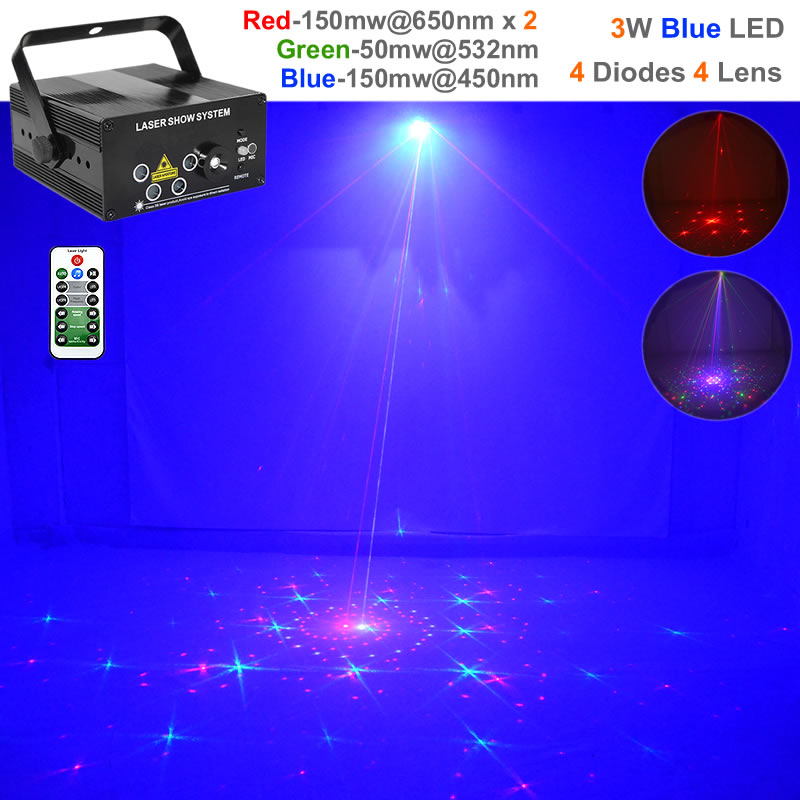 Mini Remote 96 Gobos Red Green Blue RGB Laser Effect Projector Lights 3W Blue LED Lamp DJ Home Party Show Stage Lighting 96RGB все цены