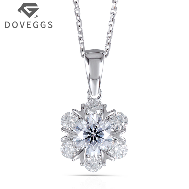 DOVEGGS 18K White Gold 750 6.5MM F Color 1.6CTW Round Brilliant Mossanite Flower Shaped Pendant Necklace for Women Free Shipping yoursfs heart necklace for mother s day with round austria crystal gift 18k white gold plated