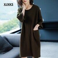 XJXKS с круглым вырезом свитер для женщин платье три четверти рукав свободный стиль карман удобные harajuku женские трикотажное платье