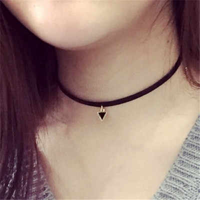 (1Pcs/Sell) Oil Droplets Triangle Trendy Sexy Hollow Flower Pendant Water Drop Chokers Necklace Collar Jewellry Women Jewelry