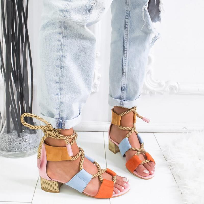 2020 New Women Sandals Shoes Celebrity Wearing Mixed Colors Style Clear Colorful Strappy Sandals High Heels Shoes Mid Heel Shoes 9