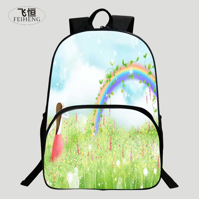 FEIHENG Brand Popular Polyester 16 Inch Printing Rainbow Cartoon Kids Baby School Backpack Children Schoolbag Girl Student Bag