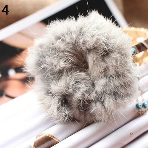 Fashion Soft Faux Fur Scrunchie Elastic Solid Hair Rope Ponytail Tail Hold Hair Band