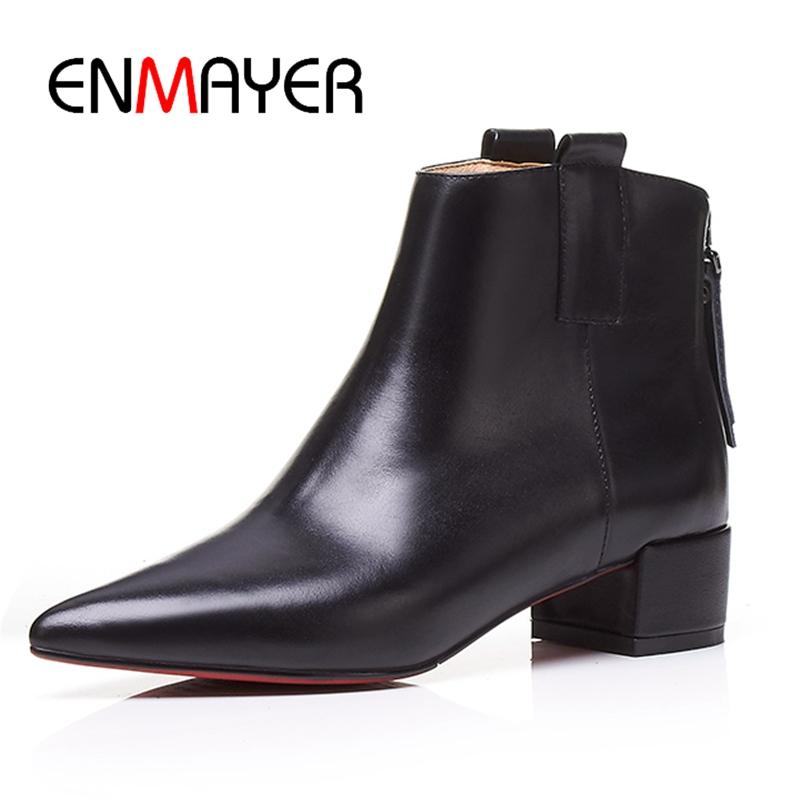 ENMAYER Basic  Pointed Toe  Genuine Leather  Winter Boots Women  Ankle Boots for Women  Size 34-39 ZYL1824ENMAYER Basic  Pointed Toe  Genuine Leather  Winter Boots Women  Ankle Boots for Women  Size 34-39 ZYL1824