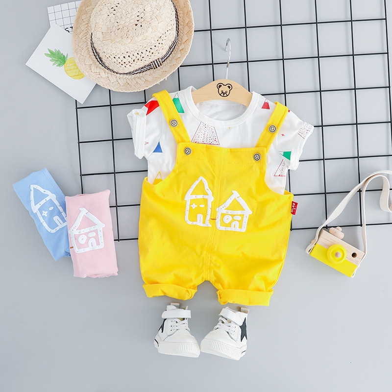 Unisex Infant Clothing Summer Cartoon T shirt amp Overalls 2pcs Baby 39 s Sets Cotton Pink Baby Girl Outfit Yellow Blue Newborn Suit in Clothing Sets from Mother amp Kids