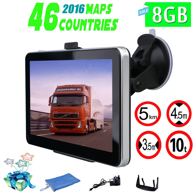 7 inch Truck & Car GPS Navigation FM Built in 8GB/256M WinCE 6.0 Map For Europe/USA+Canada