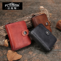 2018 Handmade Retro Women Small Wallet Genuine Leather Card Holder Organizer Coin Zipper Pocket with ID Window
