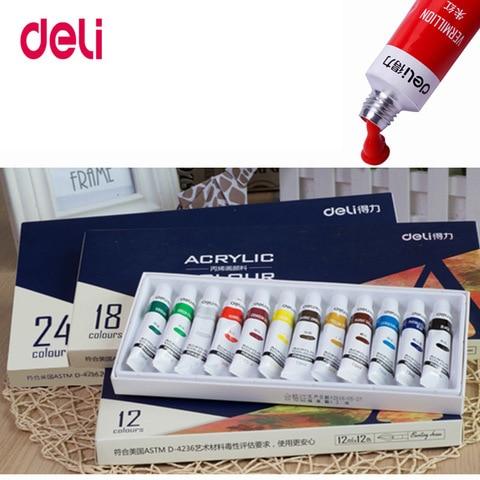 deli resistente a agua 24 cores conjunto tubo de tinta acrilica cor das unhas ferramentas