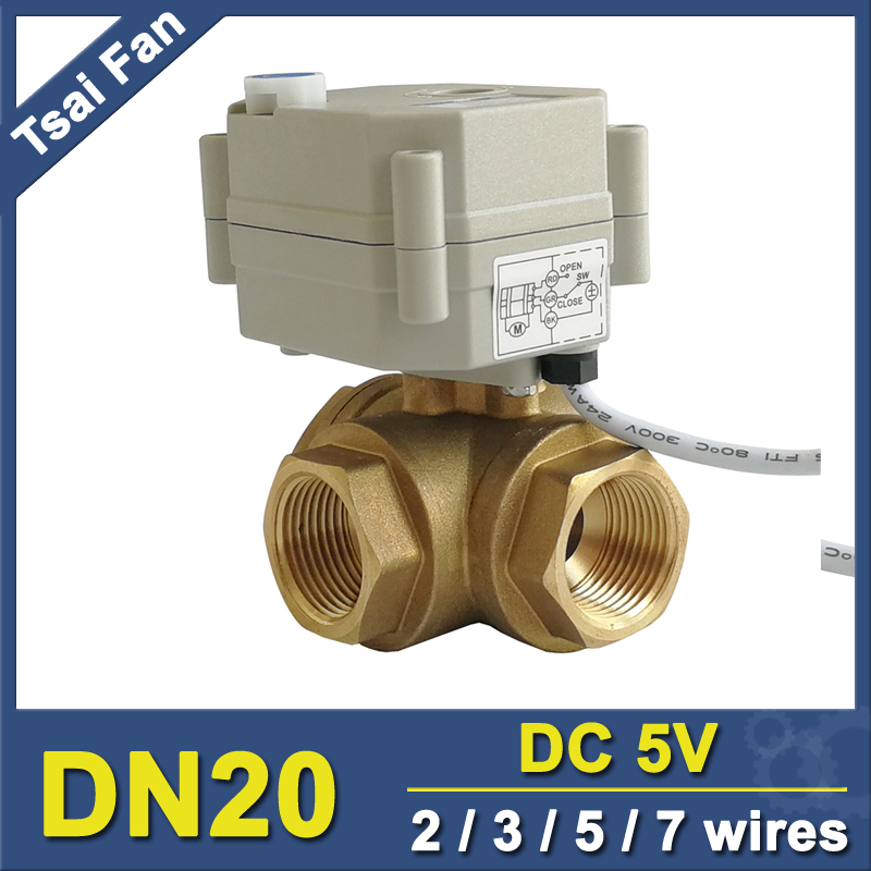 TF20-BH3-B 3 Way Brass 3/4'' (DN20) T/L Type Horizontal Electric Actuator Valve TF20-BH3-B 2/3/5/7 Wires Metal Gear CE/IP67 цена