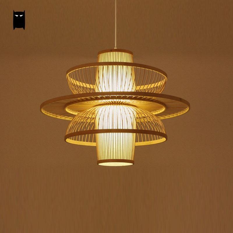Bamboo Wicker Rattan Dancer Lampshade Pendant Light Fixture Asian Japanese Art Deco Hanging Ceiling Lamp Plafon Lustre Design